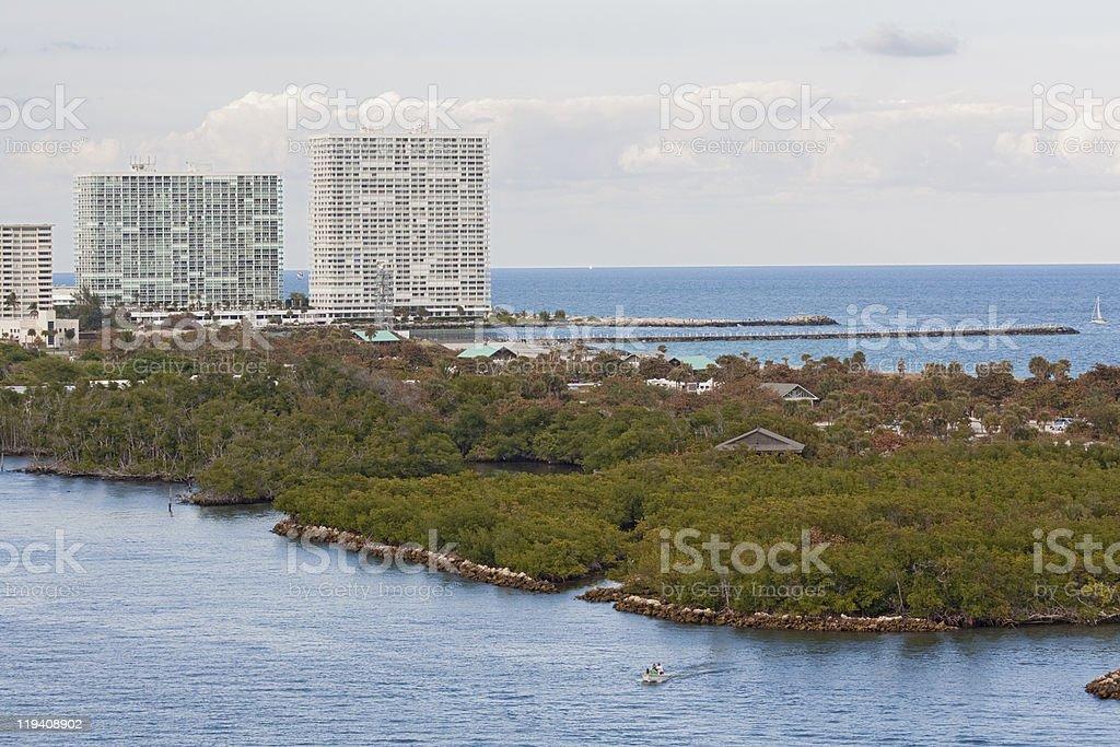 Entrance to Port Everglades, Fort Lauderdale, Florida stock photo