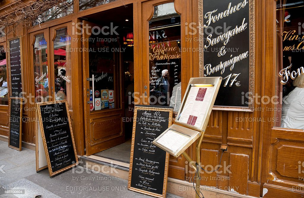 Entrance to restaurant in Paris, France stock photo