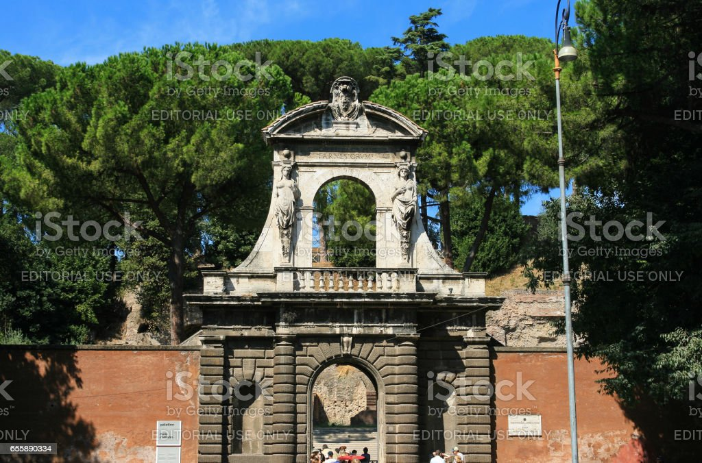 Entrance to Roman Forum and Palatine Hill, Rome, Italy. stock photo