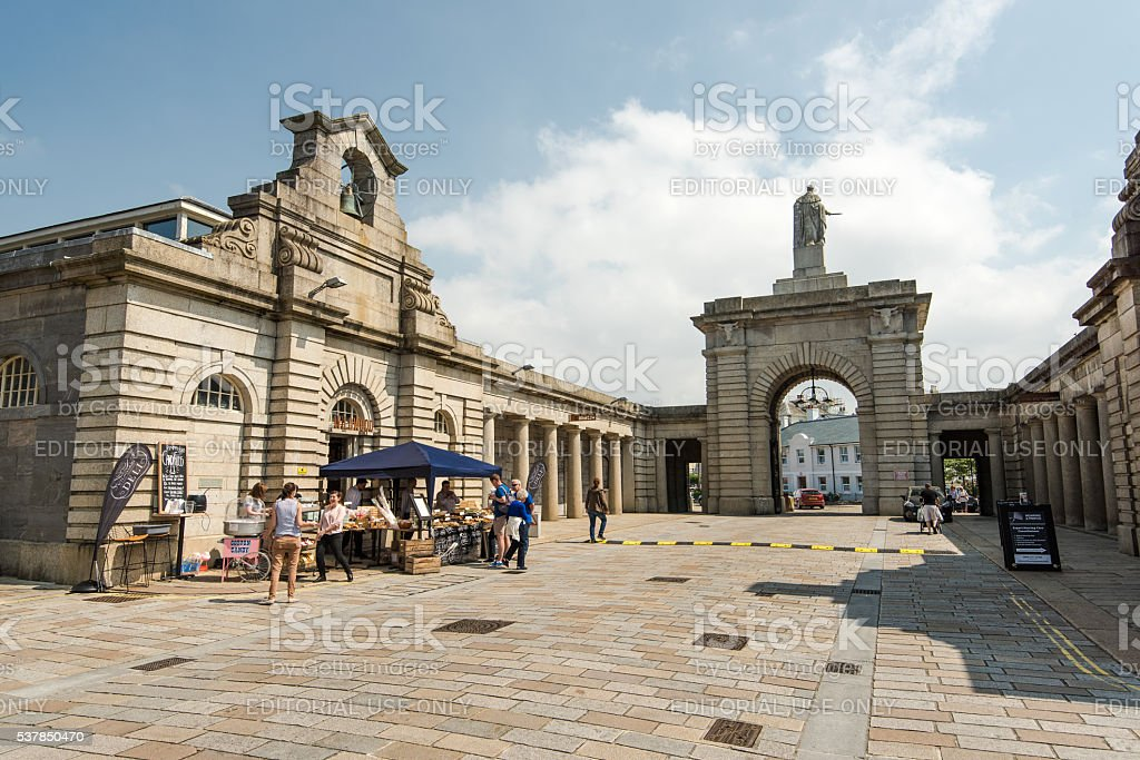 Entrance to Royal Williams Yard where Food Market is held. stock photo