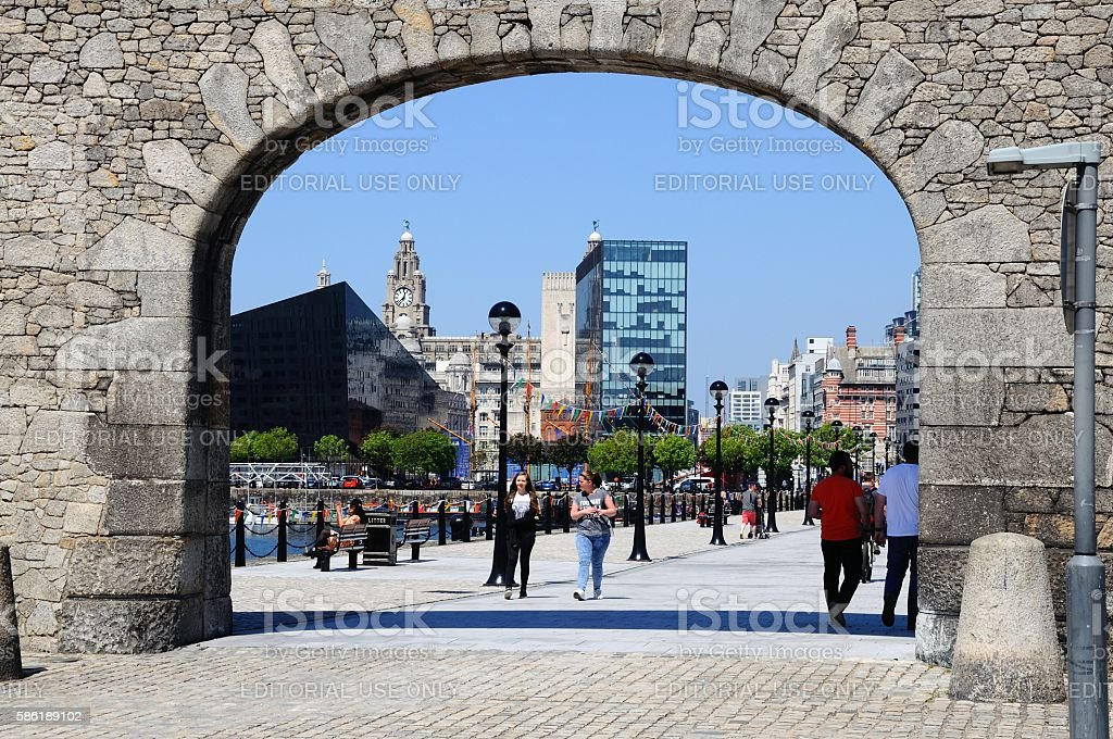 Entrance to Salthouse Dock, Liverpool. stock photo