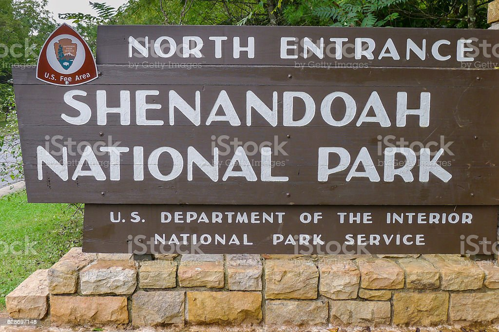Entrance to Shenandoah National Park stock photo