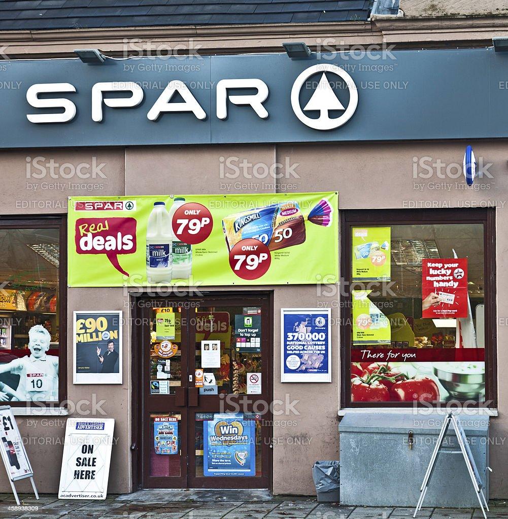 Entrance to Spar shop, Airdrie, Scotland, UK royalty-free stock photo