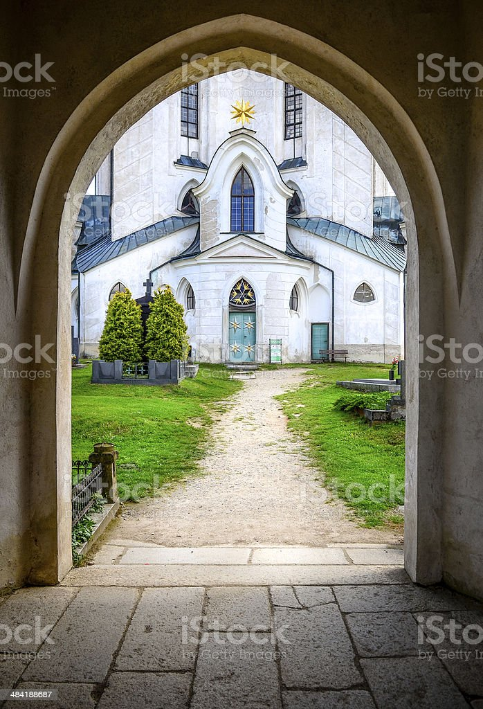 Entrance to St. John Nepomuk church, Czech Republic stock photo