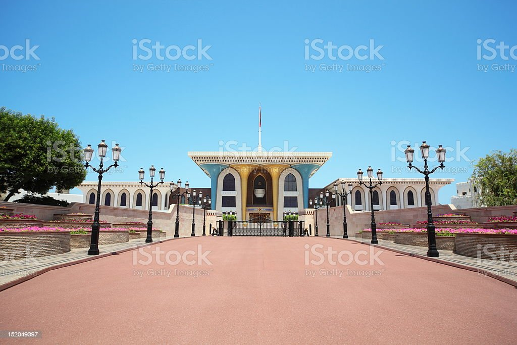 Entrance to Sultan's Palace in Oman stock photo