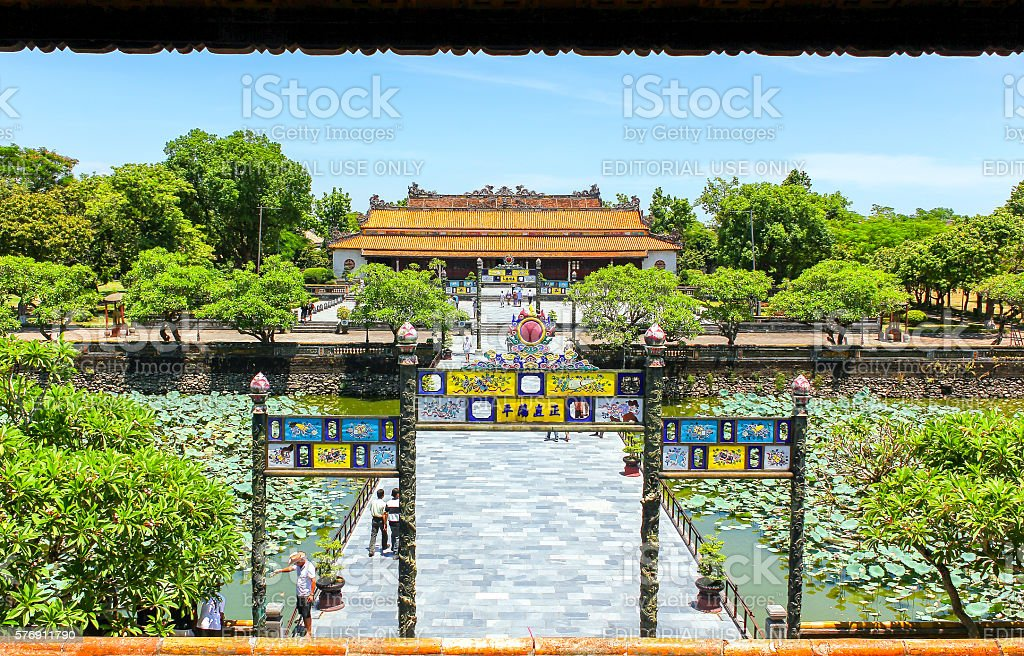 Entrance to Thai Hoa Palace stock photo