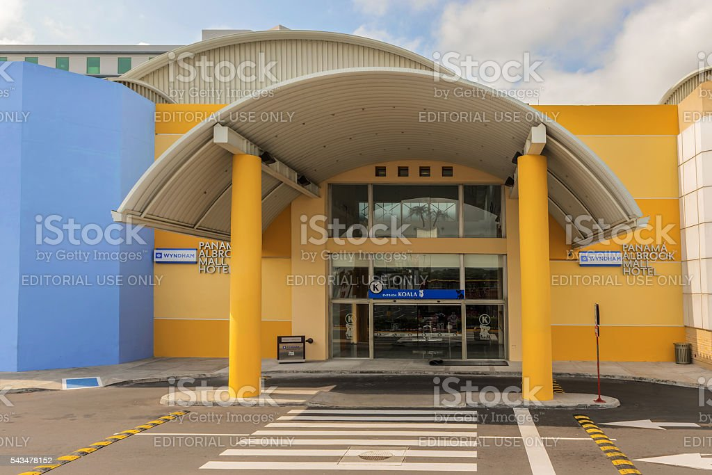Entrance to the Albrook mall in Panama City stock photo