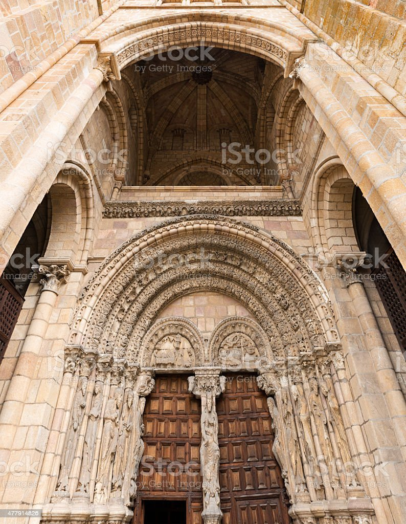 Entrance to the Basilica of San Vicente in Avila stock photo