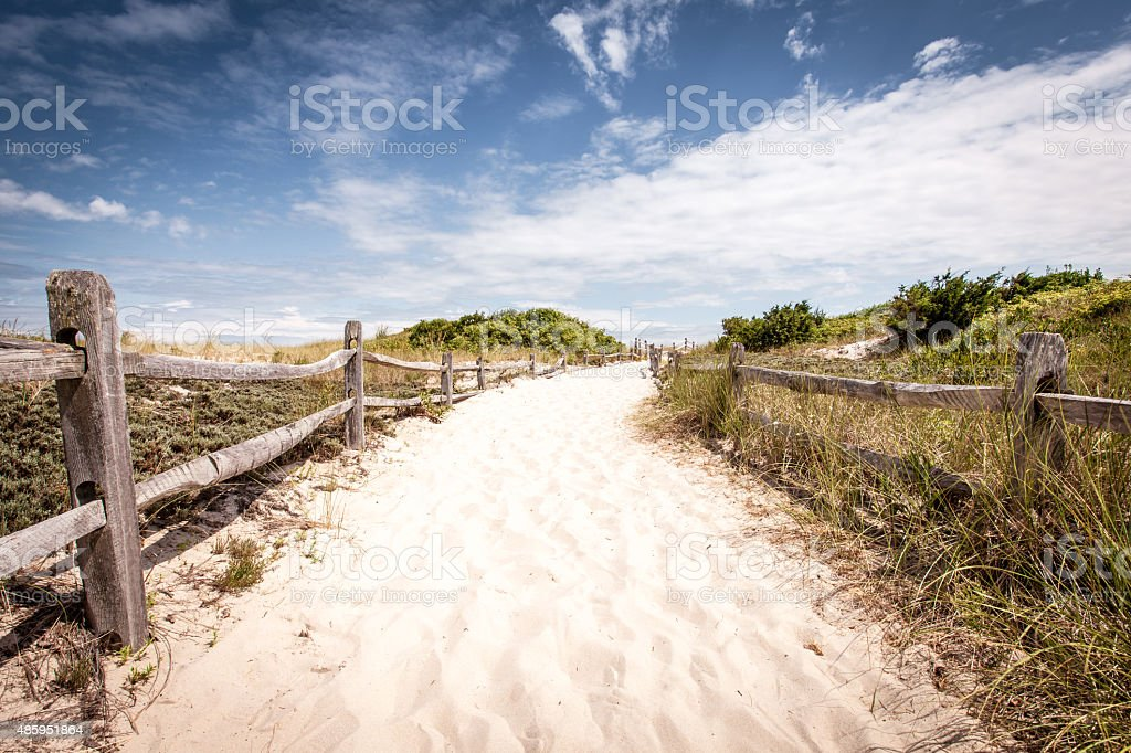 Entrance to the beach with fenced sides stock photo