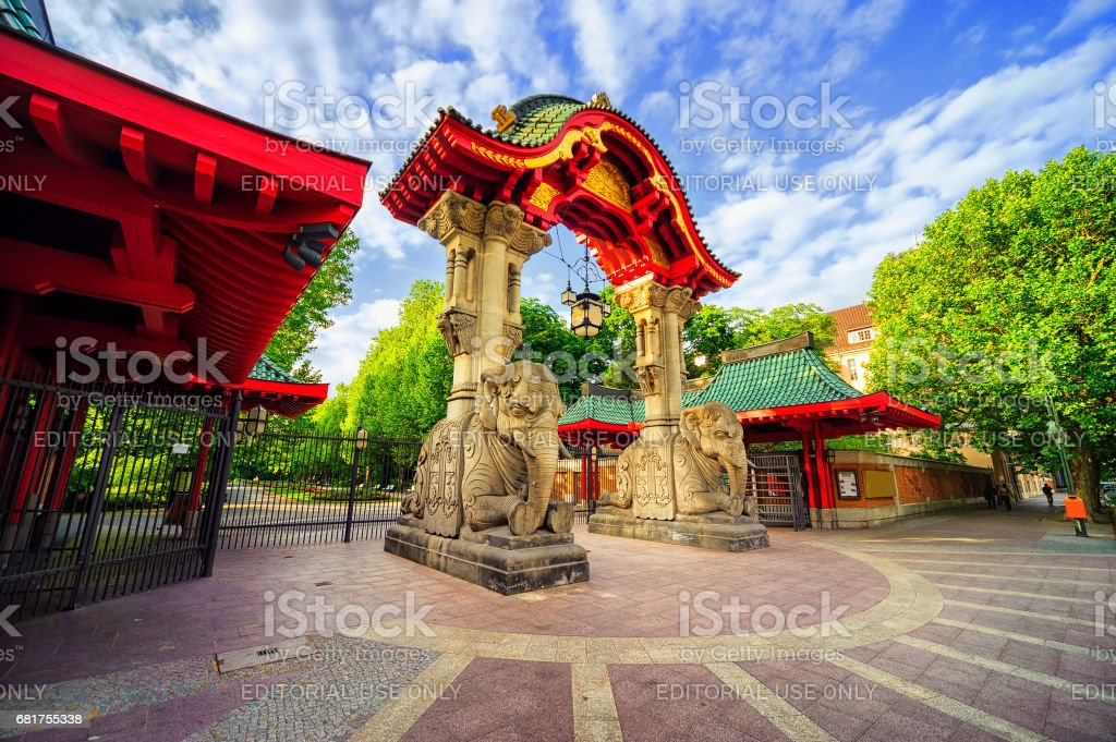 Entrance to the Berlin Zoological Garden, Germany stock photo