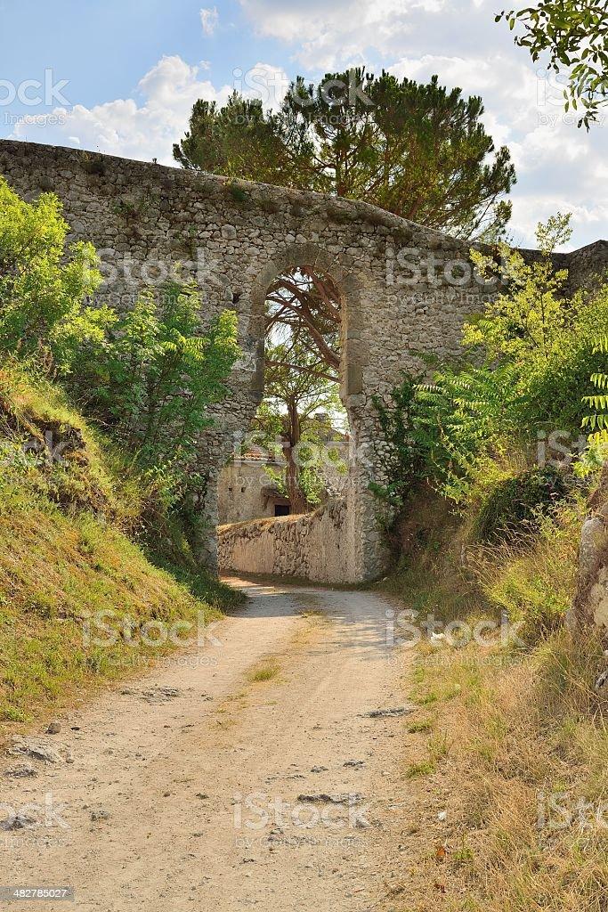 Entrance to the Castle Vicalvi stock photo
