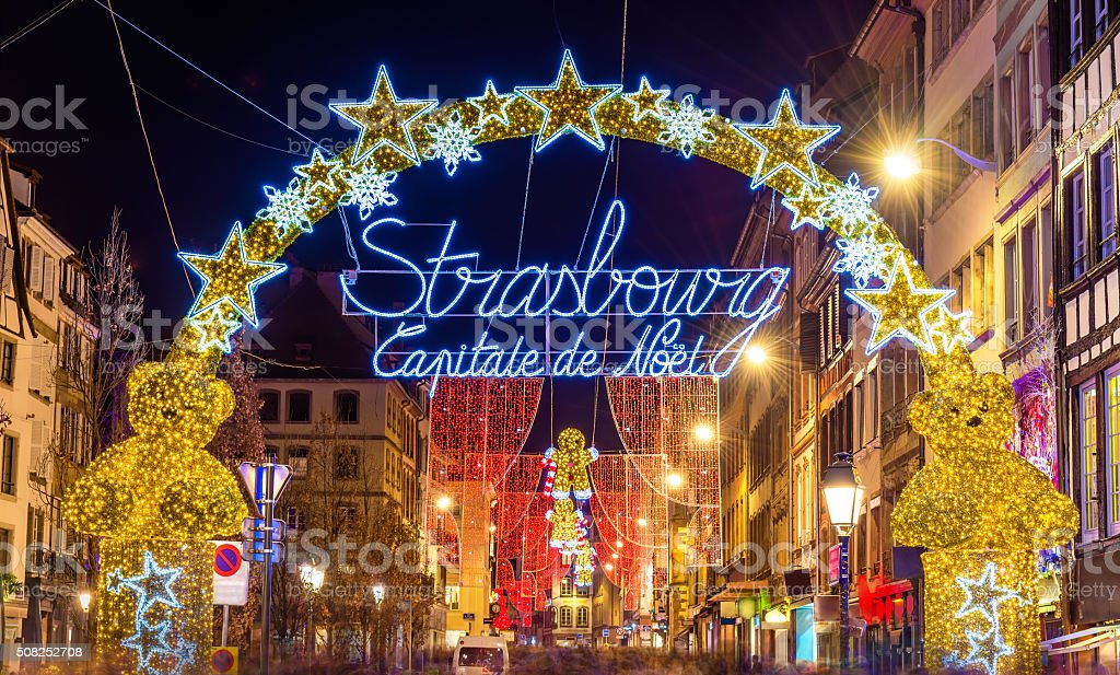 Entrance to the city centre of Strasbourg on Christmas time stock photo