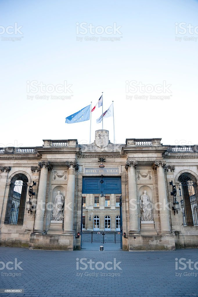 Entrance to the City Hall, Bordeaux, France stock photo
