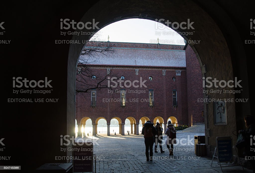 Entrance to the City Hall in Stockholm stock photo