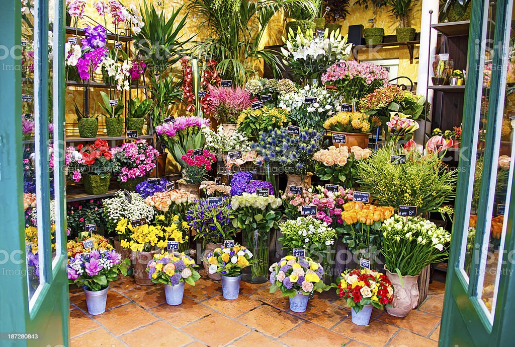 Entrance to the flower shop stock photo