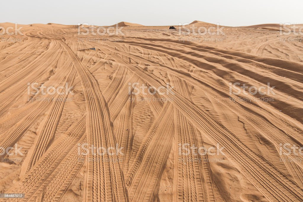 Entrance to The Great Desert with Tire Traces stock photo