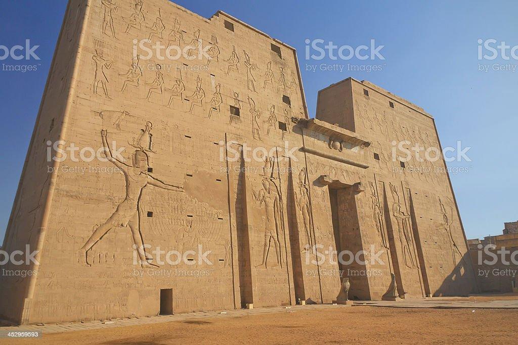 Entrance to the Horus Temple ( Edfu, Egypt ) stock photo