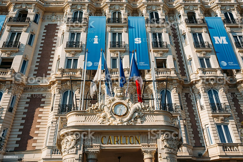 Entrance to the InterContinental Carlton Cannes hotel in Cannes stock photo