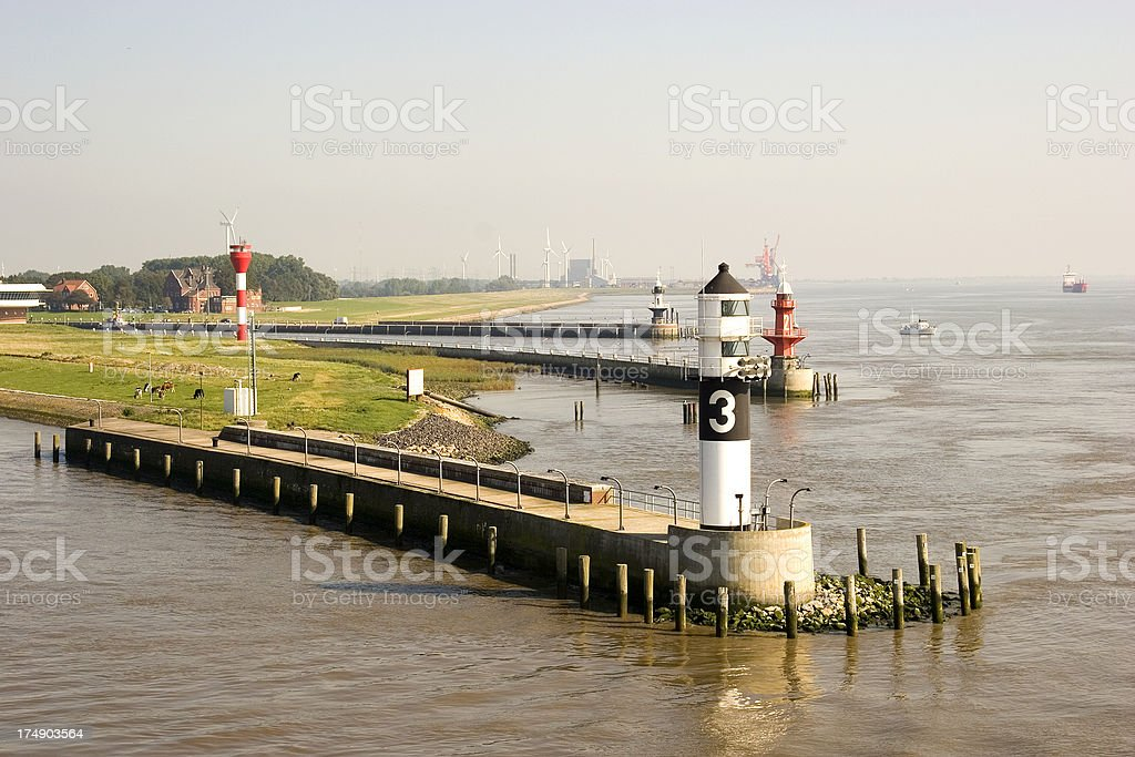 Entrance to the Kiel Canal, Germany stock photo