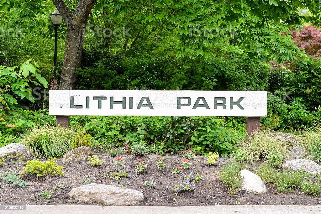 Entrance to the Lithia Park stock photo
