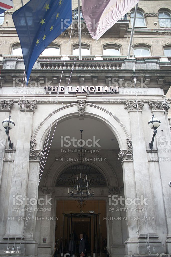 Entrance to the luxury Langham Hotel in London's West End stock photo
