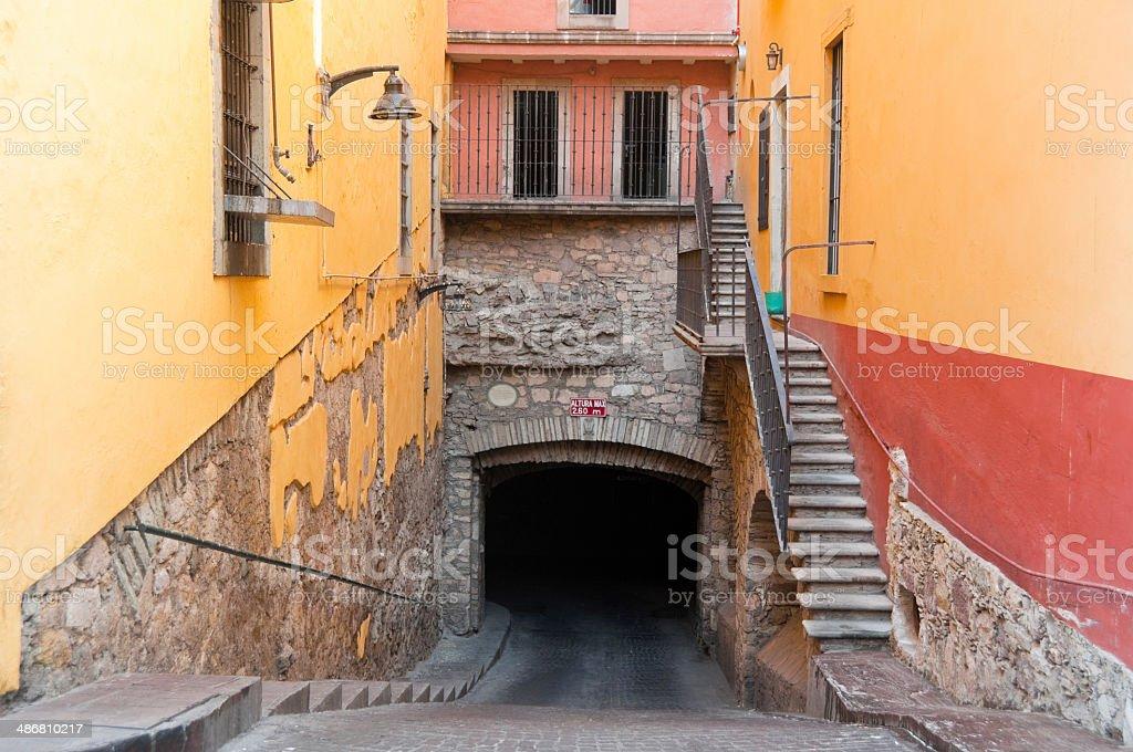 Entrance to the main tunnel of Guanajuato (Mexico) stock photo