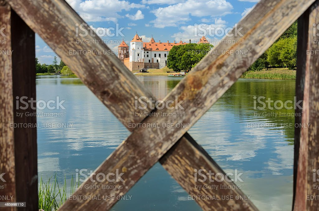 Entrance to the Mir Castle is closed stock photo
