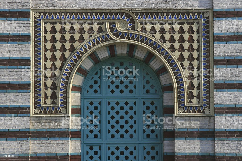 entrance to the mosque stock photo