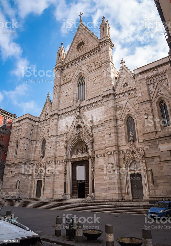 Entrance to the Naples Cathedral stock photo