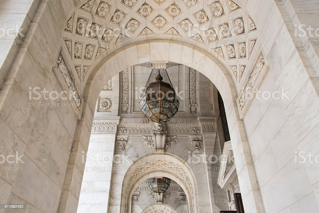 Entrance to the New York Public Library stock photo