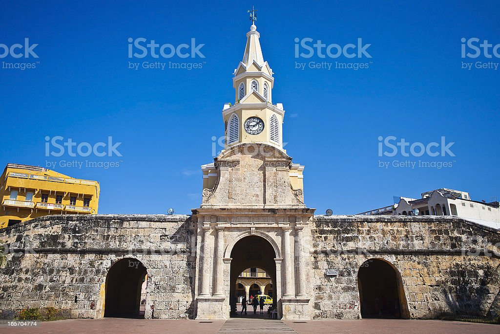 Entrance To The Old City In Cartagena, Colombia stock photo