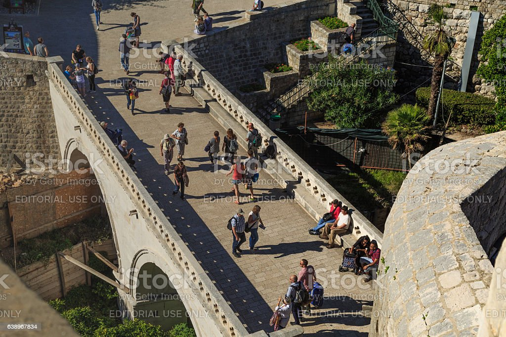 Entrance to the old city of Dubrovnik stock photo