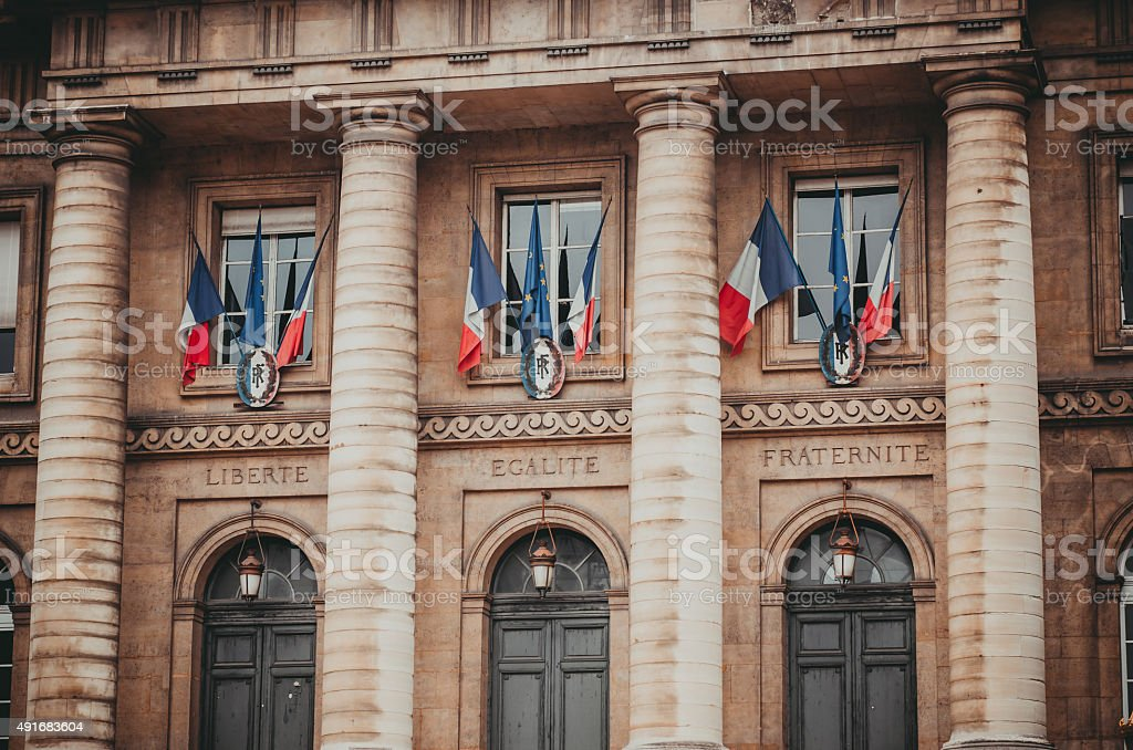 Entrance to the palais de justice in Paris France stock photo