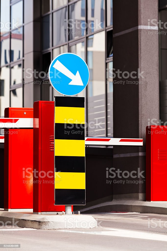 Entrance to the parking of shopping mall stock photo