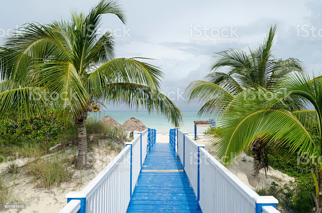 Entrance to the Playa Pilar in Cayo Guillermo stock photo