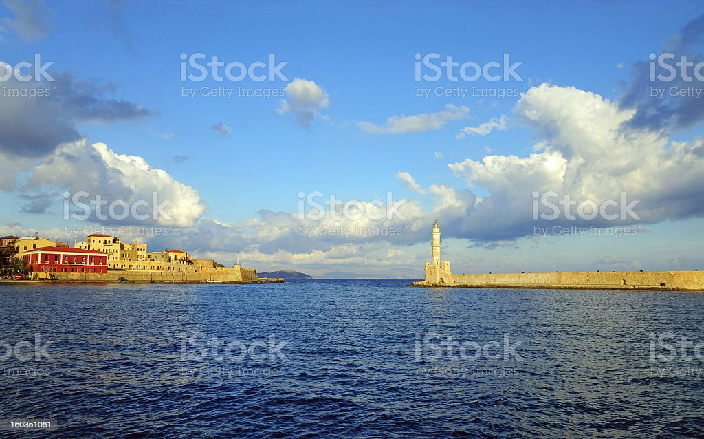 Entrance to the port of Chania royalty-free stock photo