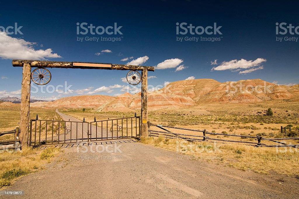 Entrance to the ranch stock photo