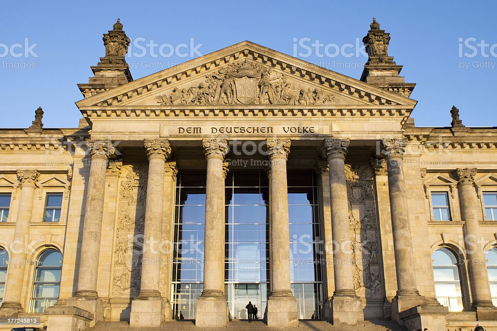 Entrance to the Reichstag stock photo