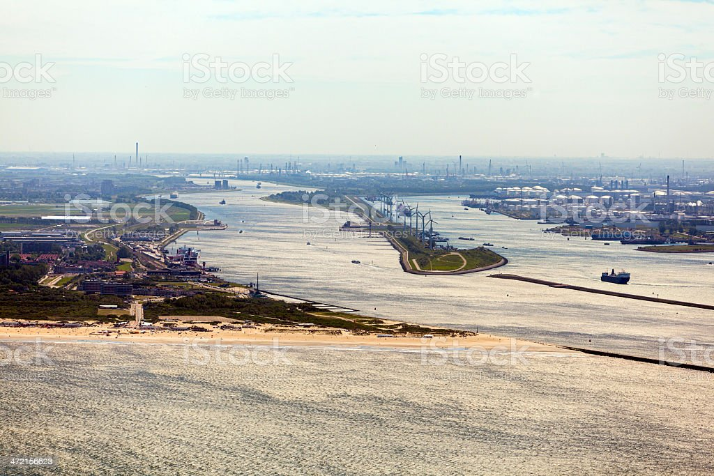 Entrance to the Rotterdam harbour aerial stock photo