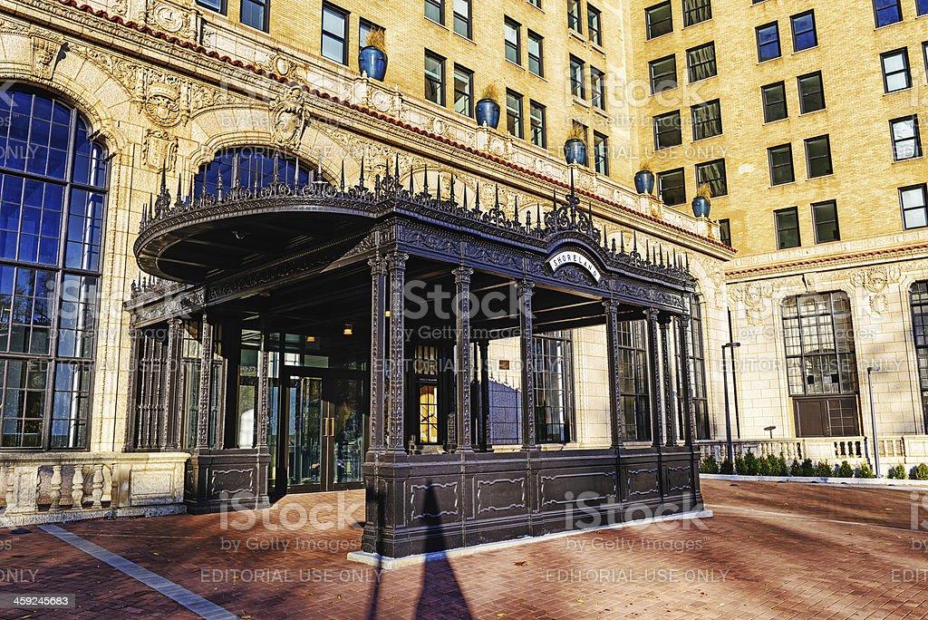 Entrance to The Shoreland Hotel,  Chicago royalty-free stock photo