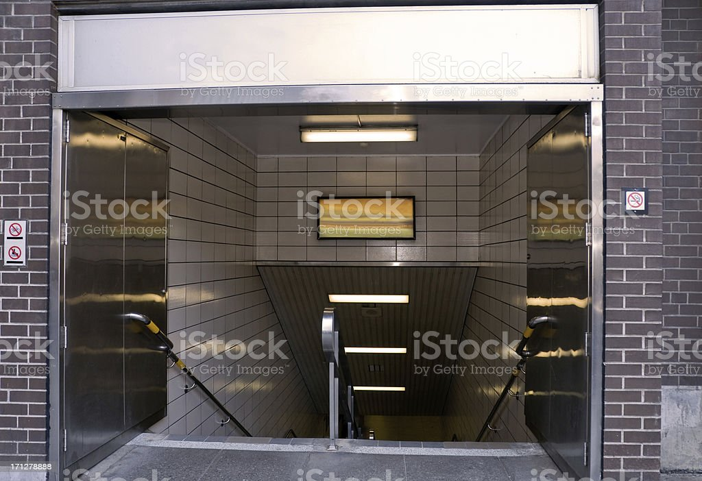 Entrance to the subway stock photo