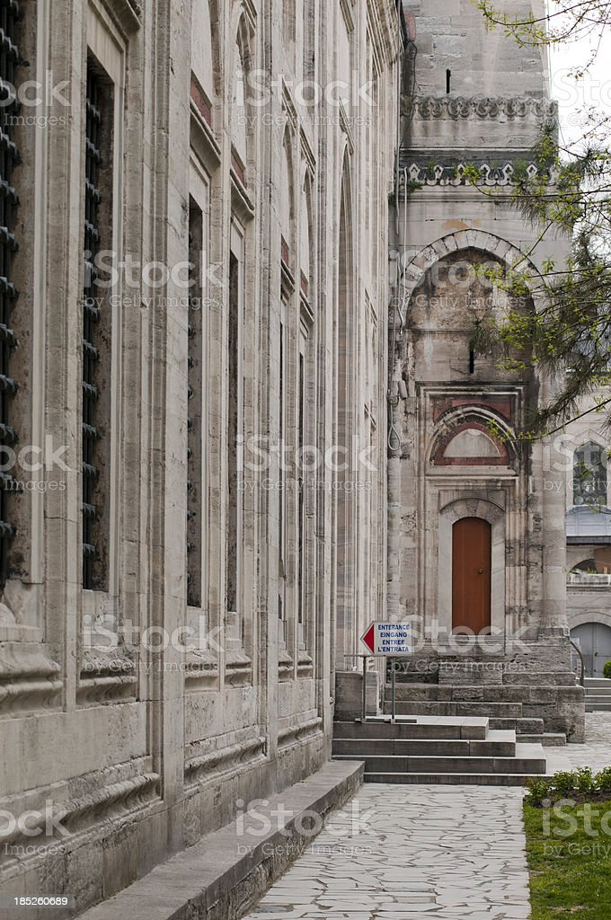 Entrance to the Suleymaniye Mosque built by Sinan, Istanbul, Turkey stock photo