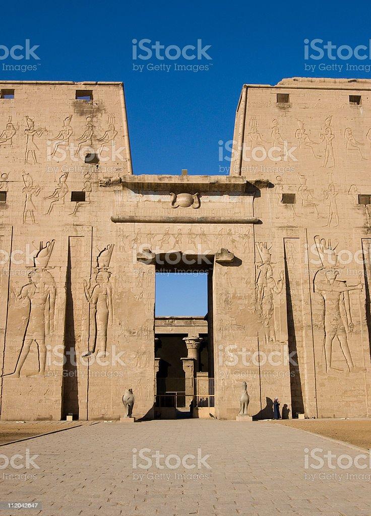 Entrance to the Temple of Horus, Edfu stock photo