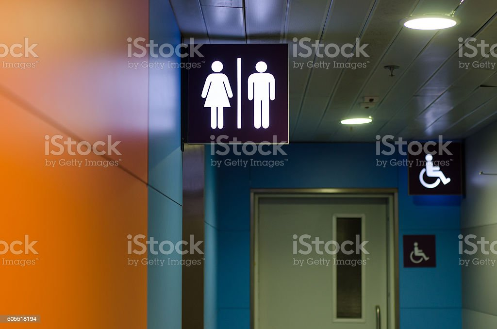 Entrance to the toilet stock photo