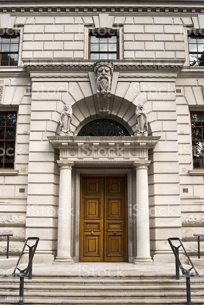 Entrance to the Treasury Building, Whitehall, London royalty-free stock photo