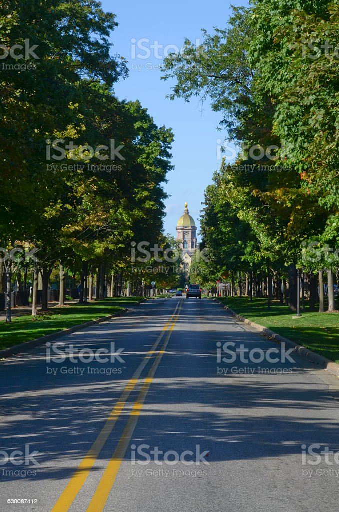Entrance to the University of Notre Dame stock photo