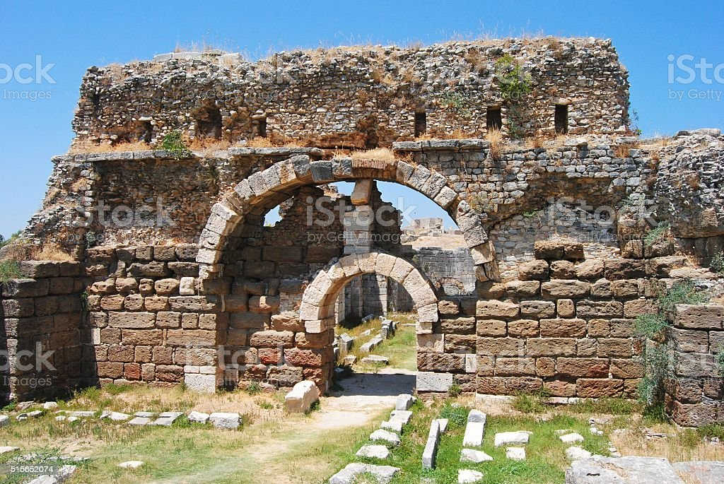 Entrance to the vast Baths of Faustina in Miletus. stock photo