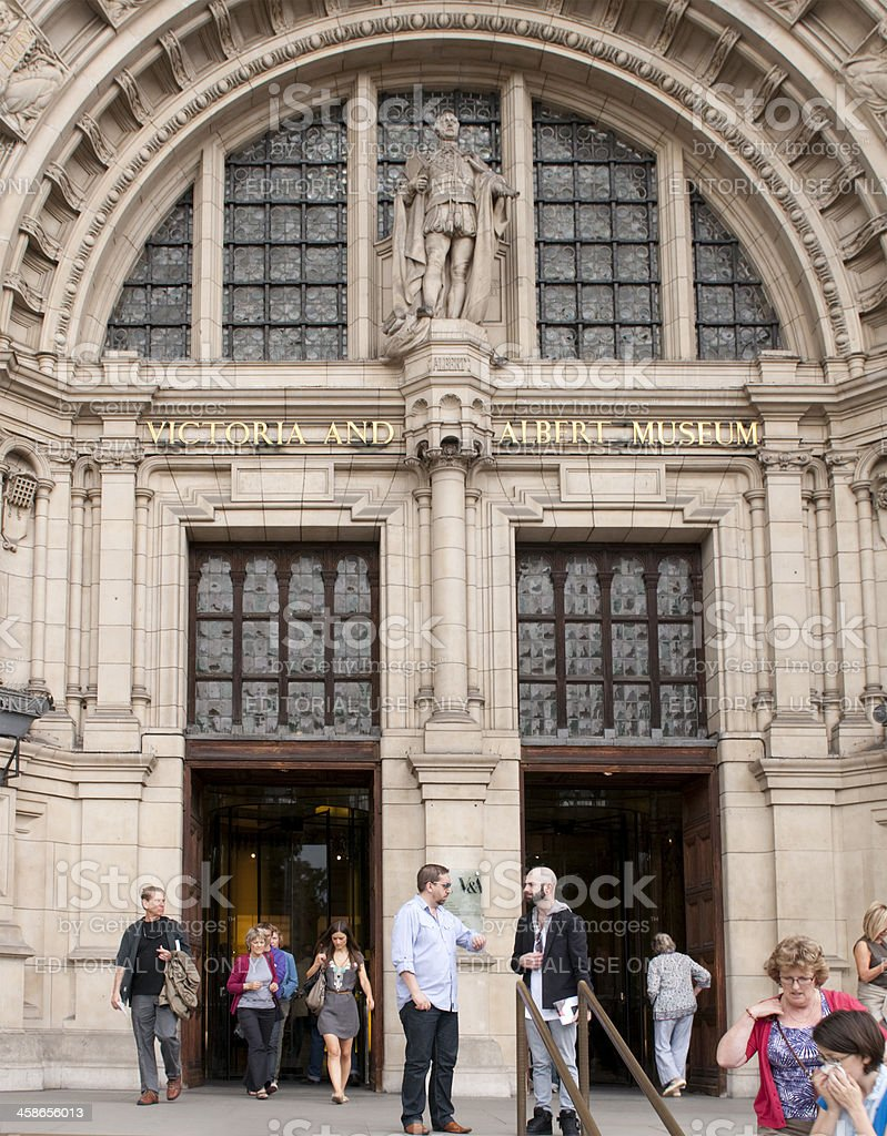 Entrance to the Victoria and Albert Museum in London, England stock photo