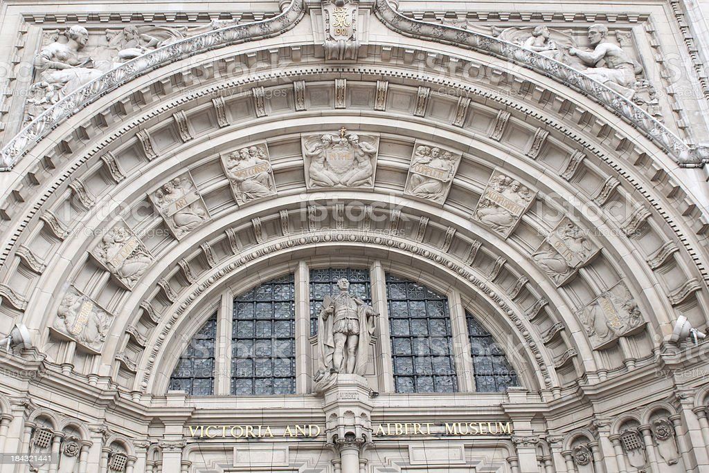 Entrance to the Victoria and Albert Museum in London stock photo
