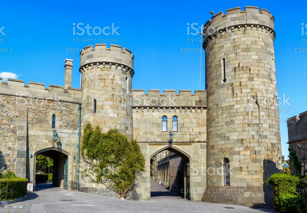 Entrance to the Vorontsov Palace in Crimea stock photo